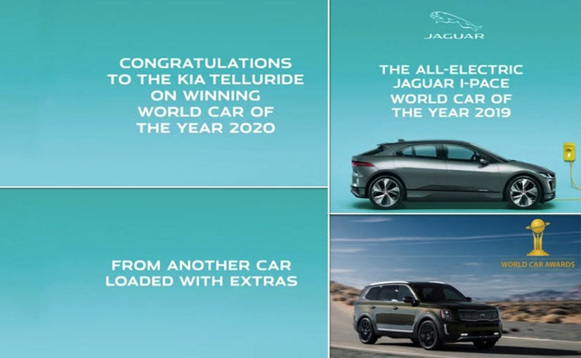 Grabs from the video Jaguar posted congratulating Kia on its World Car win for the Telluride.