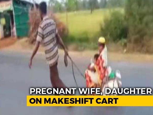 Video : Migrant Worker Wheels Pregnant Wife, Child On Makeshift Cart For 700 km