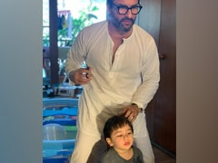 When Saif Ali Khan Styled Son Taimur's Hair. Clicked By The Usual Suspect Kareena Kapoor