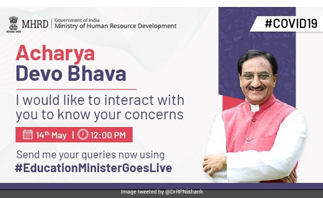 #EducationMinisterGoesLive: HRD Minister's Webinar For Teachers On May 14