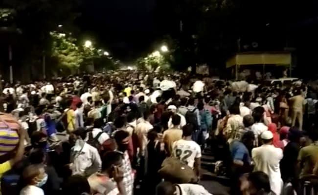 Hopeful Of Boarding Train Home, Migrants Gather Outside Mumbai Station