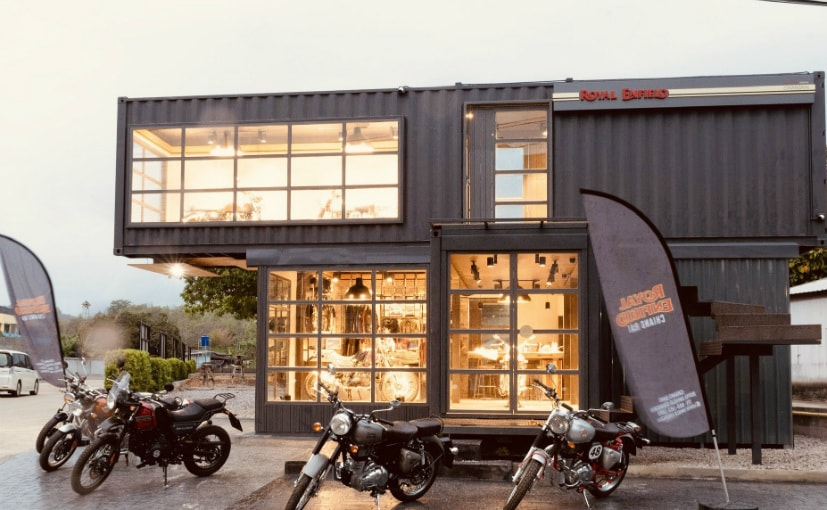 This Royal Enfield store is built using shipping containers and can be dismantled and moved