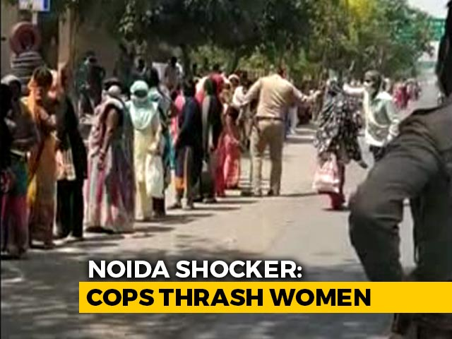 Video: After 11-Hour Wait For Ration, Women Hit By Cop With Lathi In Noida