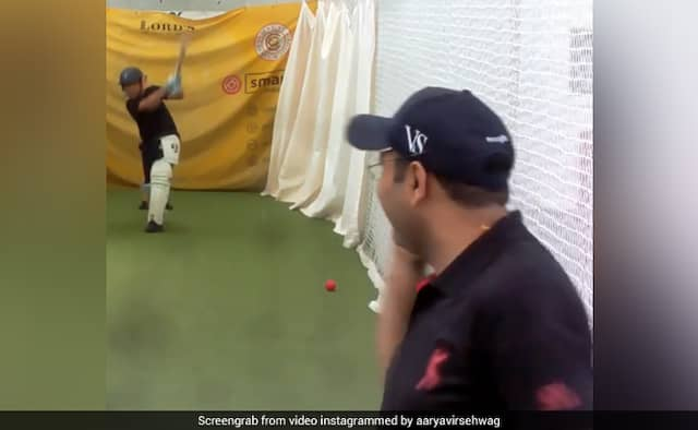 Virender Sehwag son Aryavir Sehwag training session watch video