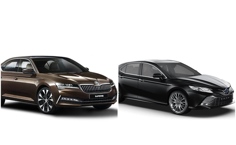 The 2020 Skoda Superb is now petrol-only, while the Toyota Camry Hybrid is a petrol-hybrid car