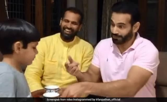 Irfan, Yusuf Pathan recreate one of the most iconic scenes from Andaz Apna Apna Watch Video