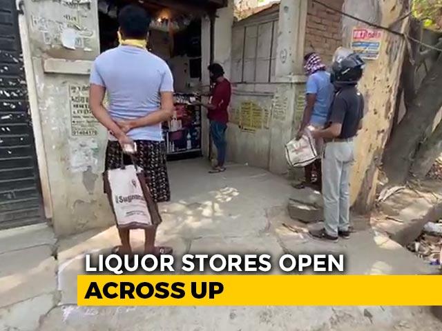 Video : Long Lines As Liquor Shops Open Across UP