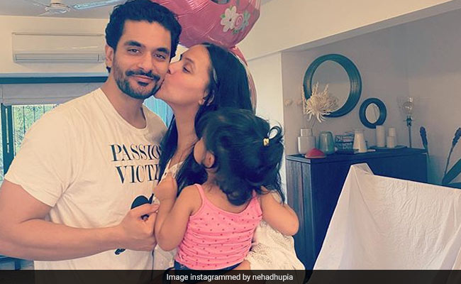 A Glimpse Of Neha Dhupia's 'Lockdown Celebrations' With Angad Bedi And Daughter Mehr