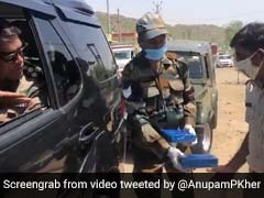 Army Officer Applauds Policemen On COVID Duty, Distributes Sweets. Watch