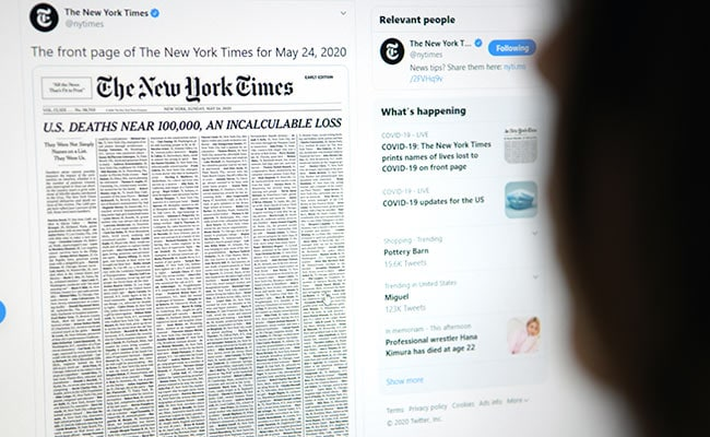 New York Times Marks Grim US Virus Milestone With Front Page Victim List