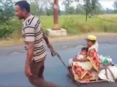 लॉकडाउन में लाचारी : रास्ते में बनाई लकड़ी से गाड़ी, 8 महीने की गर्भवती बीवी और बेटी को 800 KM खींचकर लाया मजदूर