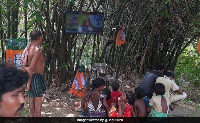 Photo Of Villagers Listening To Amit Shah On LED Screen Ticks Off Twitter