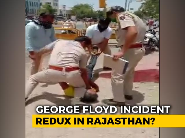 Video : Rajasthan Cop Pins Down Man Using Knee In Fight Over Mask