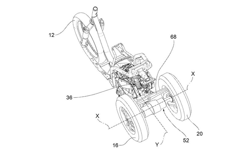 Latest patent images reveal a leaning three-wheeler from Piaggio with two rear wheels