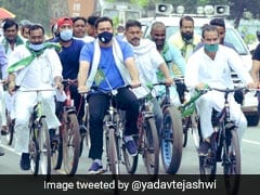 On Bicycle, Tejashwi Yadav Leads Protest Against Fuel Price Hike In Bihar