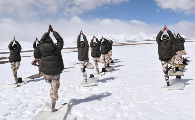 Indo-Tibetan Border Police Personnel Perform Yoga In Sub-Zero Temperature