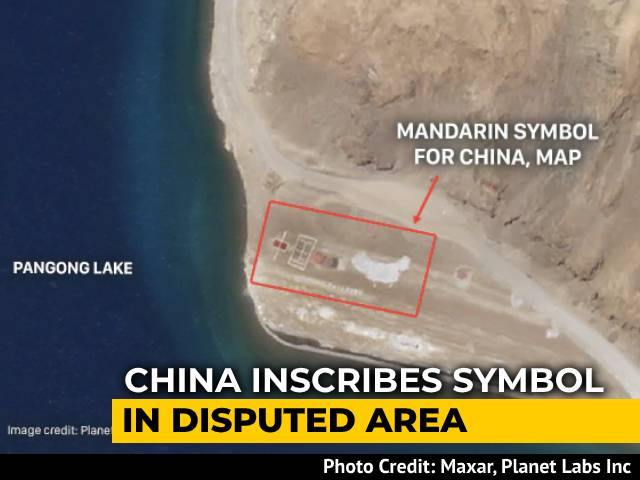 Video : Chinese Inscribe Huge Symbol, Map Onto Disputed Territory In Pangong