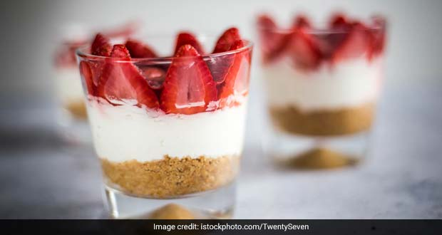 This Chilled Strawberry Cheesecake Made With Hung Curd Is Refreshing And Delicious