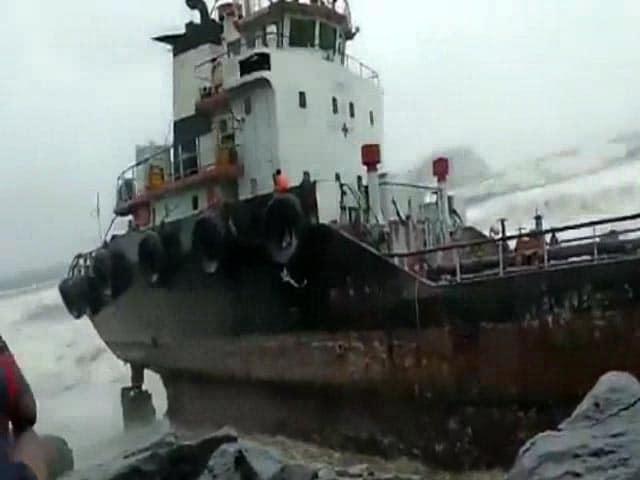 Video : Watch: Massive Waves Crash Against Docked Vessel As Cyclone Nisarga Makes Landfall