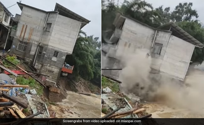 Caught On Camera: Shocking Moment A 3-Storey House Collapsed Into River