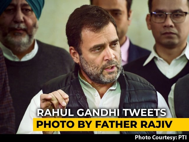 Video : In New Barb At Government, Rahul Gandhi Tweets Photo By Father Rajiv