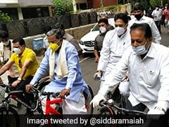 Former Karnataka Chief Minister Siddaramaiah's Cycle Protest Against Fuel Price Hike