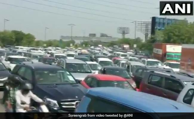 Traffic Jam At Delhi-Noida Flyway As Capital's Borders Reopen