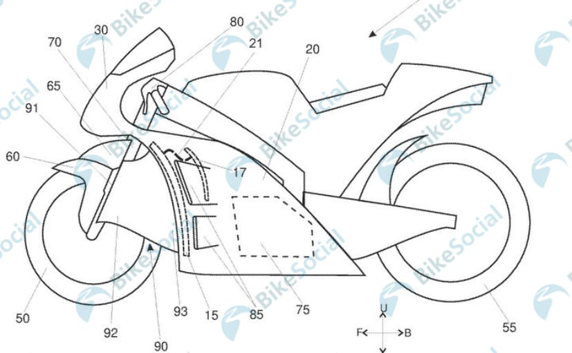 Aprilia has filed design patents for new aerodynamics system