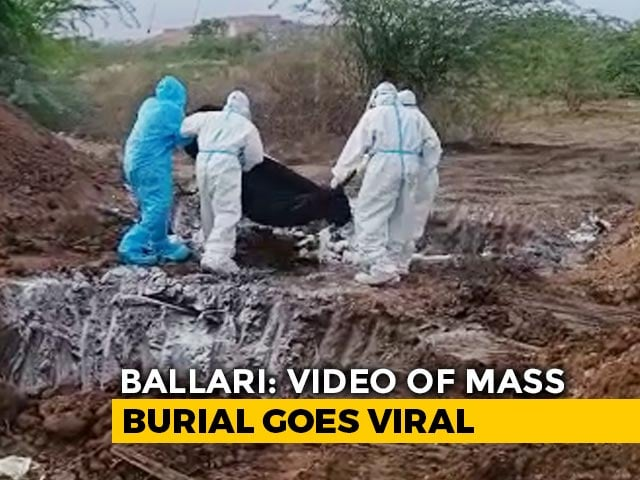 Video : On Camera, Bodies Of COVID-19 Victims Dumped In Mass Grave In Karnataka