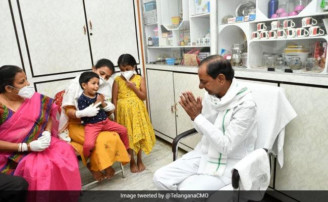K Chandrashekhar Rao Visits Family Of Colonel Santosh Babu Killed In Galwan Valley Clashes