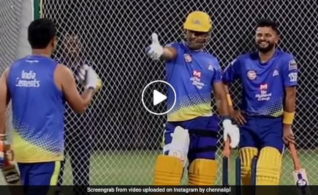 MS Dhoni pulled piyush chawla legs during csk training Watch Viral Video
