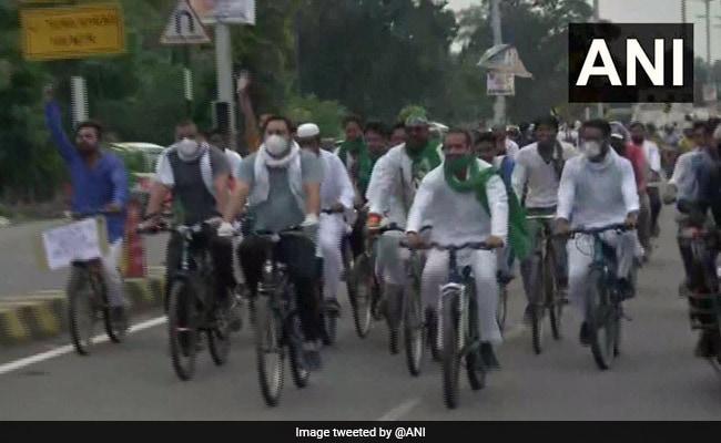 Bihar's RJD Celebrates Foundation Day, Tejashwi Yadav Leads Bicycle Rally