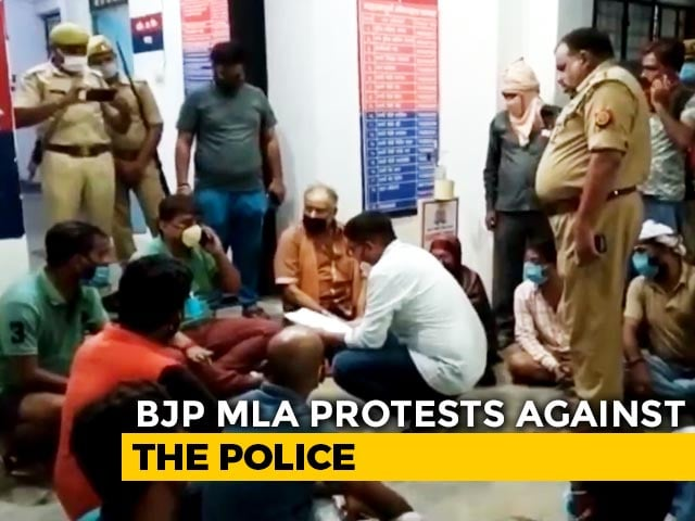 """Video : """"Negligent"""": UP BJP MLA Holds Overnight Protest Outside Police Station"""