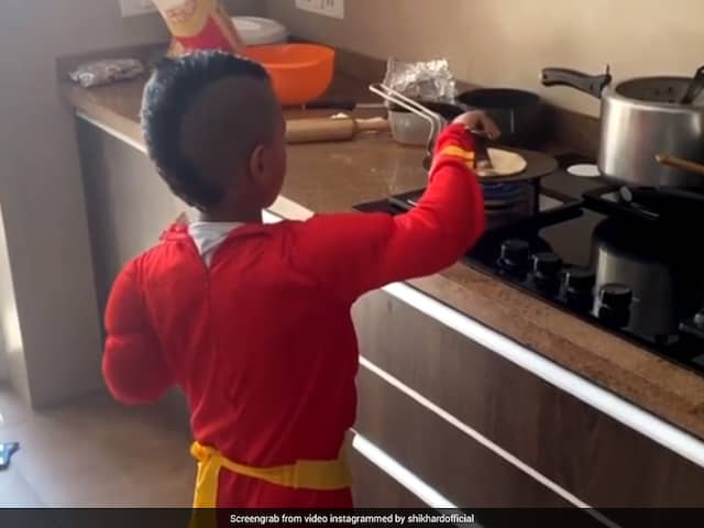 "Watch: Shikhar Dhawan Shares Video Of Son Zoraver ""Cooking Chapati"" In Superhero Costume"