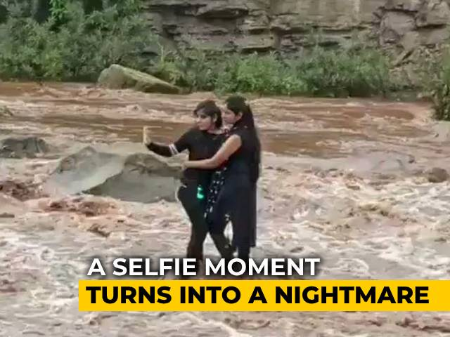 Video : Watch: Selfie In River Nearly Cost 2 Madhya Pradesh Girls Their Lives