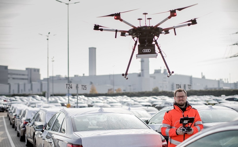 The specially developed drones fly over the vehicle despatch areas at a height of around 10 metres