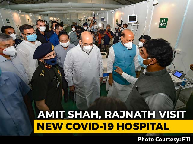 Video : Amit Shah, Rajnath Singh Visit Newly-Created 1,000-Bed COVID-19 Hospital