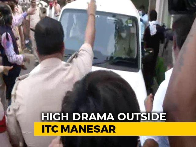 Video: At Camp Pilot In Manesar Near Delhi, Haryana Cops Stop Rajasthan Cops