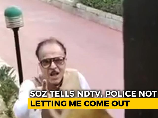 """Video : Not Being Allowed Out, Says """"Not Arrested"""" J&K Politician Saifuddin Soz"""