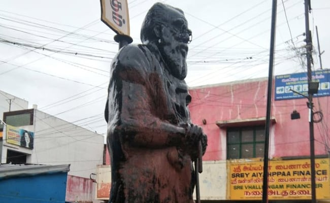 Saffron Paint Thrown On Tamil Rationalist Periyar's Statue In Coimbatore
