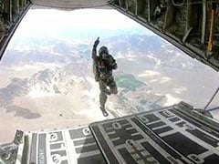 Watch: Indian Paratroopers Jump Out Of Super Hercules Plane Over Ladakh
