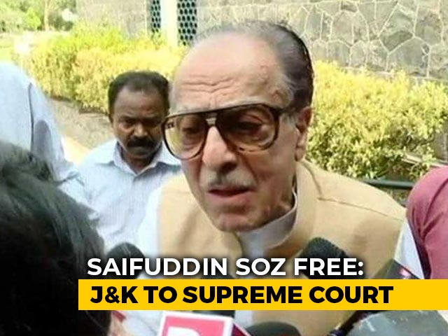"""Video : """"Government Said I Was Free, Cops Not Letting Me Out"""": Politician Saifuddin Soz To NDTV"""