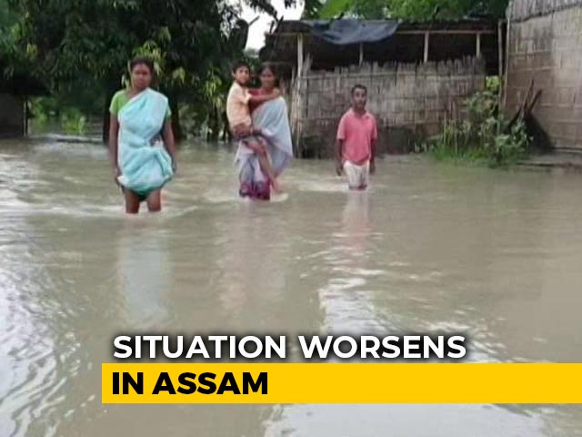 Video : Flood Water Breaching Embankments In Assam, Endangering Crops