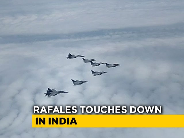 "Video : ""Welcome Home, Golden Arrows"": 5 Rafales Touch Down At Ambala Air Base"