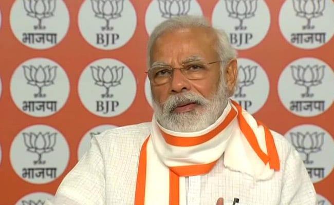 प्रधानमंत्री नरेन्द्र मोदी ने पार्टी कार्यकर्ताओं से कहा, 'भाजपा के लिये सत्ता लोगों की सेवा का माध्यम है'
