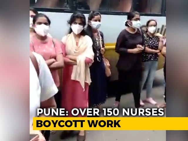 Video : Nurses In Pune's Top Hospital On Strike Against 12-Hr Shifts In PPE Kits