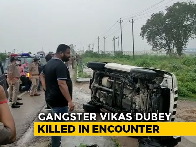 Video : Car Tried To Avoid Cattle, Flipped, Vikas Dubey Tried To Escape: Cops
