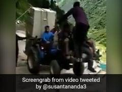 Viral Video Shows Tractor Climbing Stairs At Kedarnath