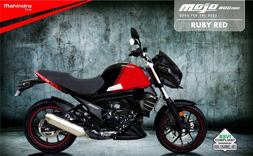 BS6 Mahindra Mojo 300 ABS motorcycle with Ruby Red colour teased online
