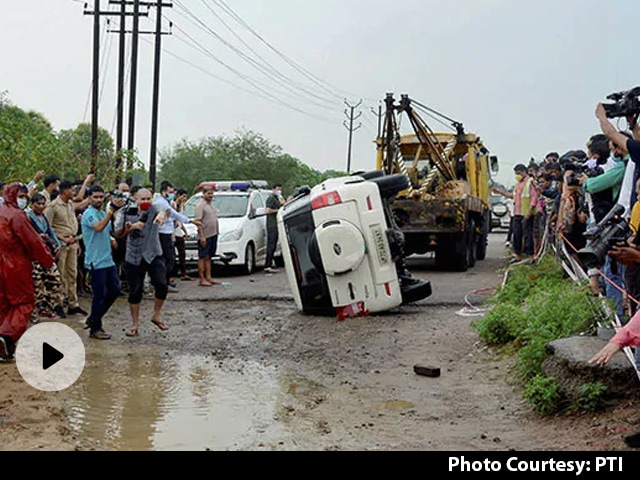 Video | Car Tried To Avoid Cattle, Flipped, Vikas Dubey Tried To Escape: Cops